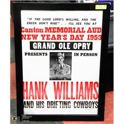 HANK WILLIAMS GRAND OLE OPRY FRAMED POSTER REPLICA