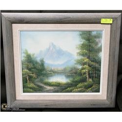 VINTAGE PAINTING WITH WOOD FRAME 28X23 INCHES