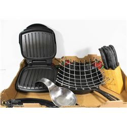 KITCHEN LOT INCL GEORGE FOREMAN GRILL, SLEAB KNIFE