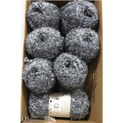 1 BOX NEW SPECIALTY YARN, 7 BALLS TOTAL