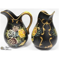 "LOT OF 2 SHOWROOM 11"" WATER JUG BLACK AND GOLD"