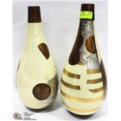 """LOT OF 2 SHOWROOM 14"""" GOLD ABSTRACT TEXTURED VASES"""