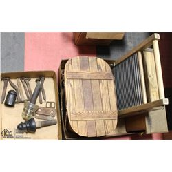 2 FLATS OF ANTIQUES INCL WASHBOARD,MAILBOX