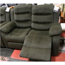 NEW DARK GREEN FABRIC RECLINING SOFA WITH LOVESEAT