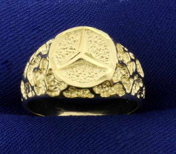 Gold Mercedes Peace Symbol Ring