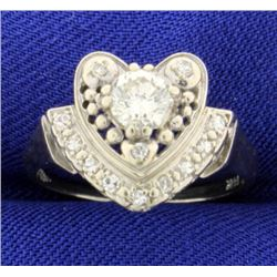Vintage Diamond Heart Ring