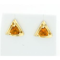 Trillion Cut Citrine Earrings