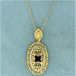 Natural Amethyst Pendant and Chain