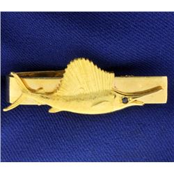 Sailfish Tie Clip with Sapphire