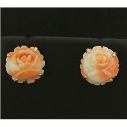 Pink Coral Flower Design Earrings in 14k Gold