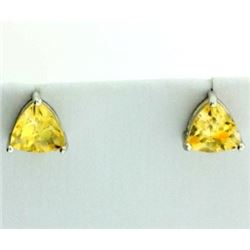 6mm Trillion Cut Citrine Stud Earrings