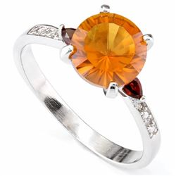 Citrine and Garnet Ring in Sterling Silver