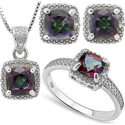Cushion Cut Mystic Topaz and Diamond Ring Earring and Necklace Set in Sterling Silver