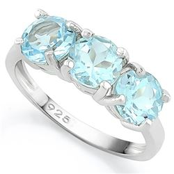 Large 3CTW Baby Swiss Blue Topaz 3 Stone Ring in Sterling Silver