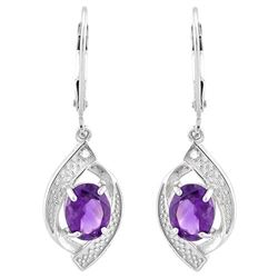 Amethyst and Diamond Dangle Earrings