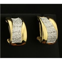 Diamond Designer Half Hoop Earrings in 14k Yellow and White Gold