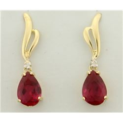 4ct TW Ruby And Diamond Drop Dangle Earrings in 14k Gold