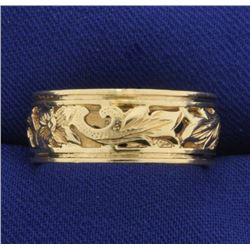Flower Design Band Ring in 14k Gold