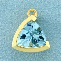 3ct Natural Aquamarine Triangular Pendant in 14k Gold