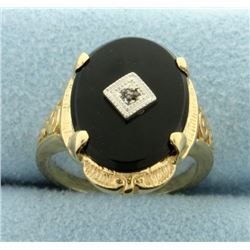 Vintage Onyx and Diamond Ring in 14k Gold