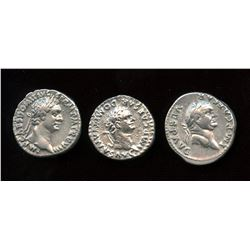 Flavian Dynasty Lot. AR Denarius (3 Pcs)