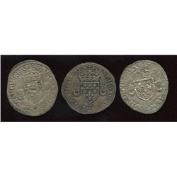 Lot of 3 French billon coins,