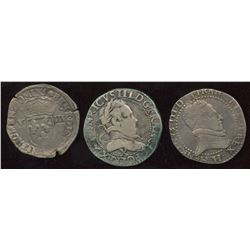 Lot of 3 French silver coins,
