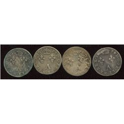 Lot of 4 French 2 sols