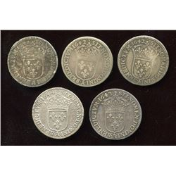 Lot of 5 French 1/12 Ecu,