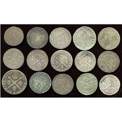 Lot of 15 French 10 sols.