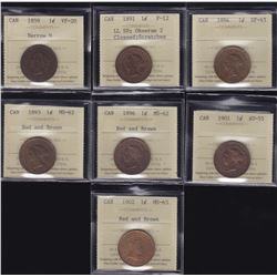 Canadian ICCS Graded Large Cents - Lot of 7