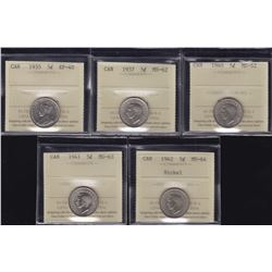 Canadian Lot of ICCS Graded Five Cents