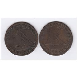 BR 728.  A pair of Upper Canada cask tokens.