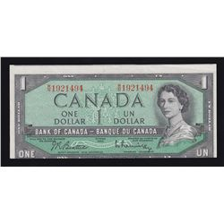 Bank of Canada $1, 1954 Out of Register Cutting error.