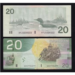 Bank of Canada $20, Radar Notes - Lot of 2