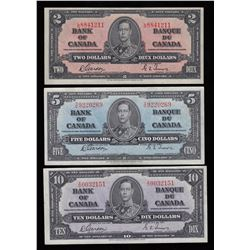 Bank of Canada $2, $5 & $10, 1937