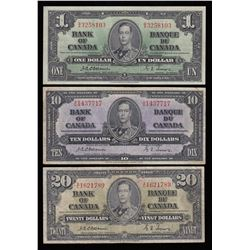 Bank of Canada $1, $10 & $20, 1937