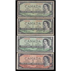 Bank of Canada $1 &$2, 1954 - Devil's Face - Lot of 4