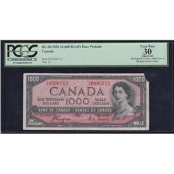 Bank of Canada $1000, 1954 - Devil's Face