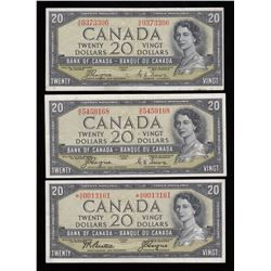 Bank of Canada $20, 1954 - Lot of 3