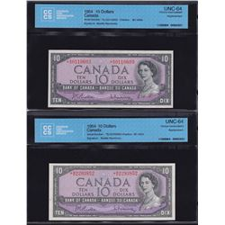 Bank of Canada $10, 1954 Replacement Lot of 2