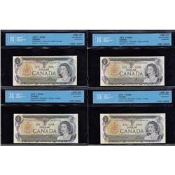 Bank of Canada $1, 1973 - Replacement Lot of 4