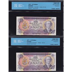 Bank of Canada $10, 1971 - Lot of 2