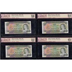 Bank of Canada $20, 1969 Replacement Lot of 4