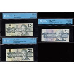 Bank of Canada $5, $20 Bird Series - Lot of 3