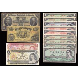 Miscellaneous Lot of 13 Canadian Banknotes