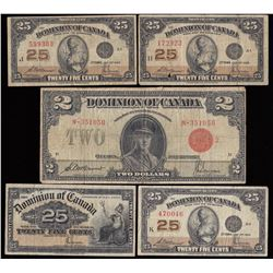 Lot of 5 Dominion of Canada Banknotes