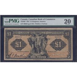 Canadian Bank of Commerce Kingston, Jamaica One Pound, 1921