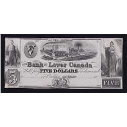 Bank of Lower Canada $5, 18_
