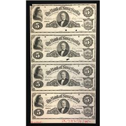 Bank of Nova Scotia $5, 1881 Uncut Sheet of Four